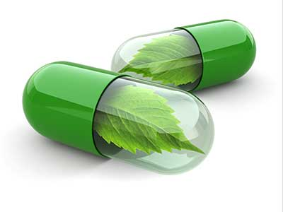 pills with leaves